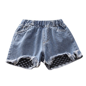 Fish Net Distressed Stretchable Denim Shorts