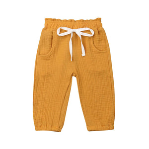 Casual Wrinkled Drawstring Summer Pants