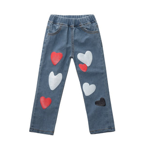 Heart Printed Stretchable Denim Pants