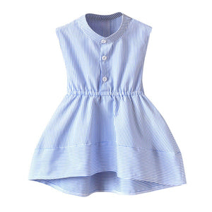 Round Neck Button Down Minimalist Striped Summer Dress