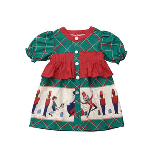 Christmas Magic Plaid Cartoon Party Dress