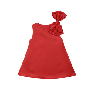 Toga Ribbon Sleeve Basic Mono Red Dress