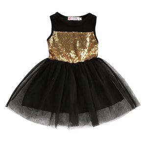 Gold Sequin Tulle Princess Party Dress
