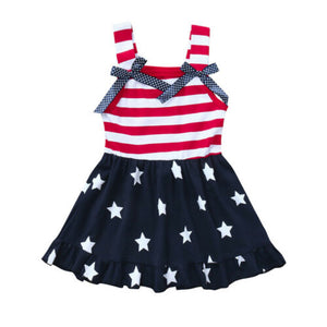 Stripes And Stars American Flag Bow Knot Sleeveless Dress