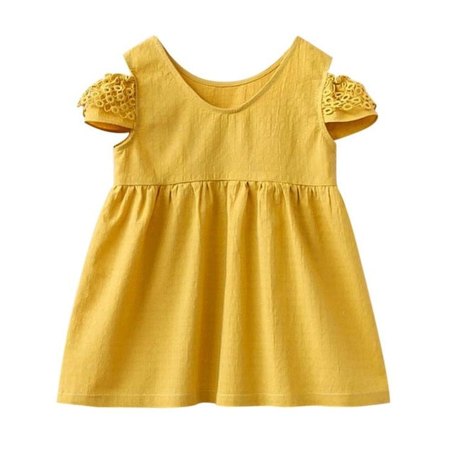 Cold Shoulder Mustard Summer Sundress