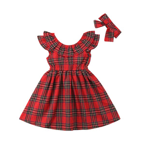 Christmas Plaid Princess Dress With Matching Headband