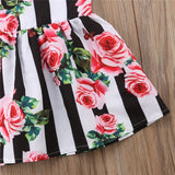 Striped Red Roses Princess Dress