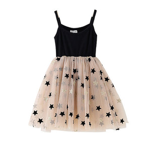 Twinkle Stars Mesh Tulle Black Dress