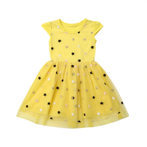 Twinkle Stars Tulle Short Sleeve Dress