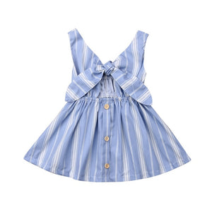 Summer Bow Knot Striped Sundress