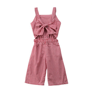 Summer Red Plaid Bow Knot Jumpsuit