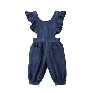 Denim Ruffle Sleeve Side Cut Out Jumpsuit