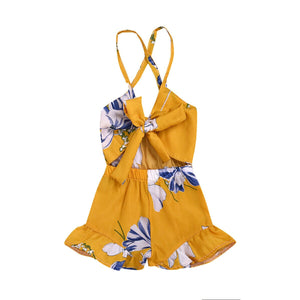 Cross Back Bow Front Mustard Floral Summer Romper