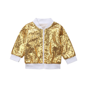 Gold And Shine Sequin Bomber Jacket