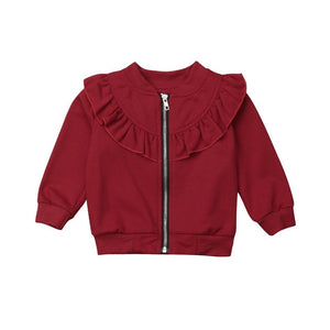 Ruffle Collar Zipped Bomber Jacket