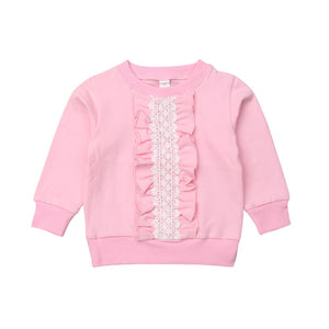 Rosy Evening Ruffle Lace Warm Sweater