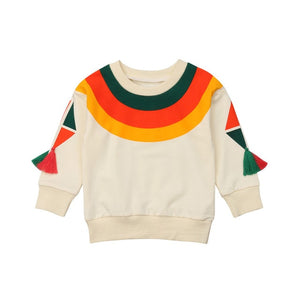 Vintage Rainbow Tassel On Sleeve Sweater