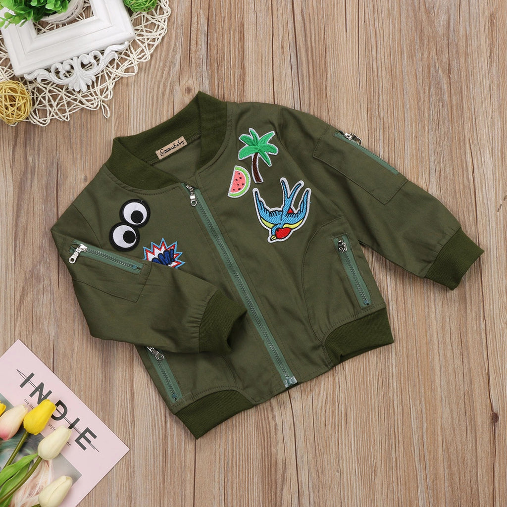 Army Green Sticker Patch Bomber Jacket