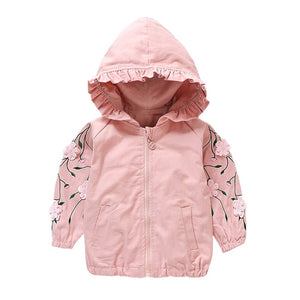 Pink Floral Sleeve Zipper Hooded Jacket