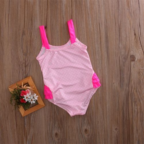 Pink Flamingos With White Polka Dot One Piece Swimsuit