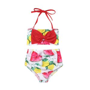 Two Piece Fruity Halter Neck Red Bow Top With Bottom Swimsuit