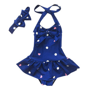 Retro Blue Polka Halter Neck One Piece Swimsuit with Headband