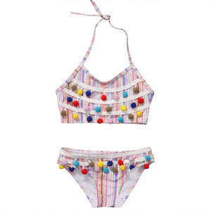 Two Piece Halter Neck Rainbow Tassel With Bottom Swimsuit