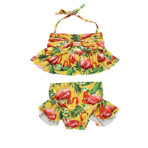 Two Piece Halter Back Flamingo Fiesta Peplum Top With Ruffled Bottom Swimsuit
