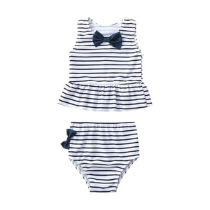 Two Piece Black Bow Striped Peplum Top With Ribbon Bottom Swimsuit