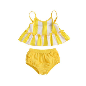 Two Piece Yellow Sunshine Flare Top With Bottom Swimsuit