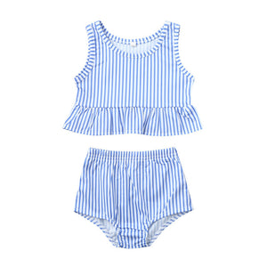 Two Piece Pink Striped Peplum Top With Bottom Swimsuit