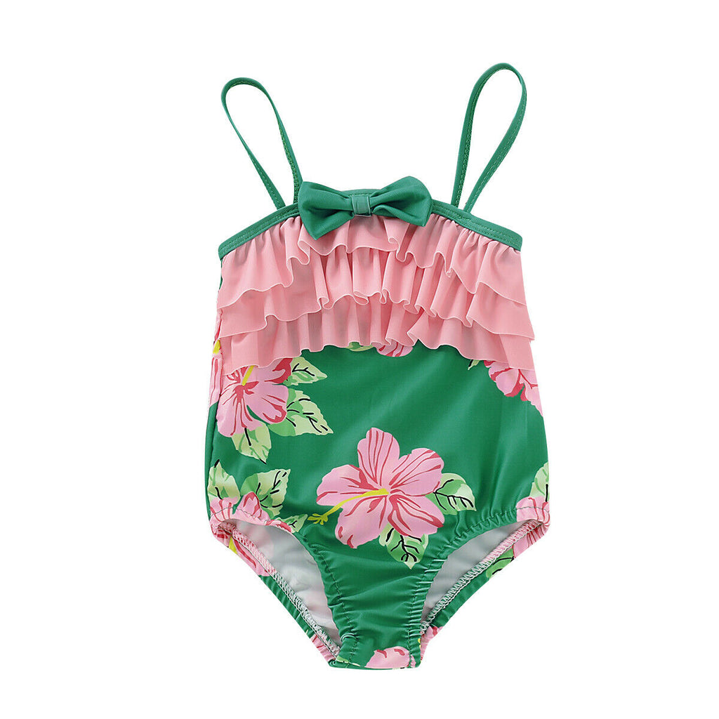 Ruffle Pink Flower Printed One Piece Swimsuit