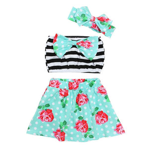 Two Piece Garden Bow Striped Bandeau Swimsuit With Matching Headband