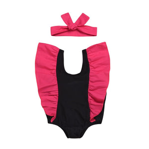 Fashion Statement Ruffle One Piece Swimsuit With Headband
