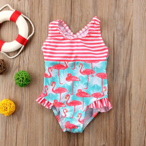 Striped Flamingo One Piece Swimsuit