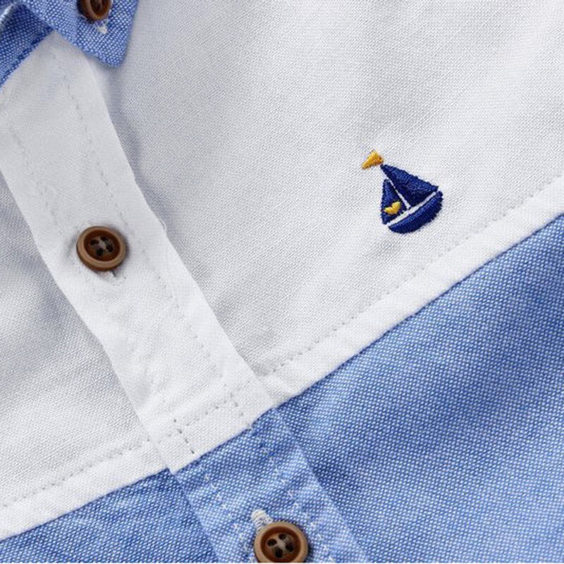 Nautical Striped Soft Cotton Button Down Short Sleeved Shirt