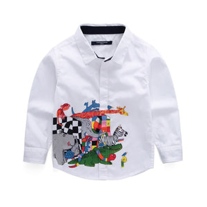 Cartoon Printed Off-White Basic Shirt