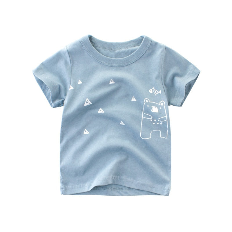 Bears & Triangle Cotton T-Shirt - Tops - baby-petite