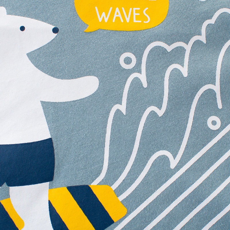 Polar Surfing Waves Cotton T-Shirt - Tops - baby-petite