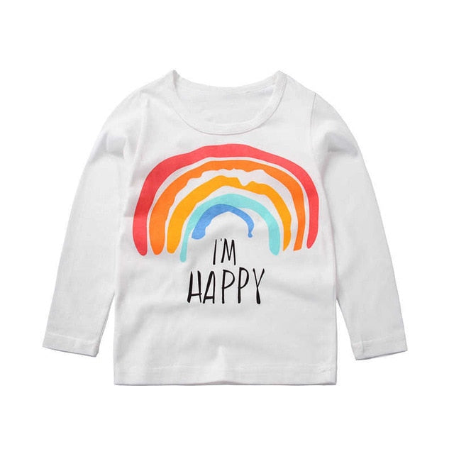 I Am Happy Rainbow Casual Long Sleeve Cotton T-Shirt - Tops - baby-petite