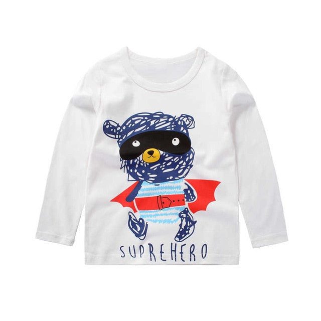 Cartoon Bear Superhero Casual Long Sleeve Cotton T-Shirt - Tops - baby-petite