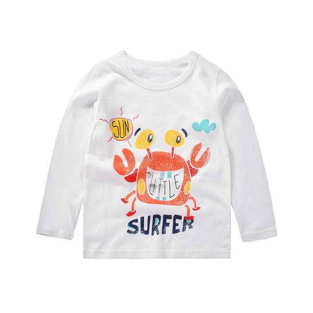 Crabby Surfer Casual Long Sleeve Cotton T-Shirt - Tops - baby-petite