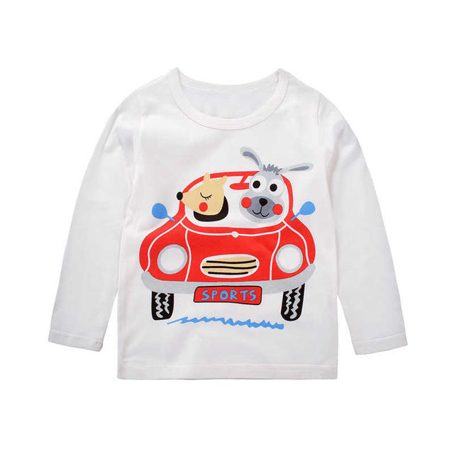 Cute Dogs On The Road Casual Long Sleeve Cotton T-Shirt - Tops - baby-petite