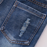 Little Ripped Blue Rolled Up Denim Pants