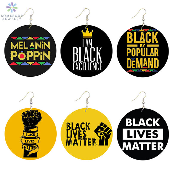Black Lives Matter Natural Wood Drop Earrings (6 Pairs) - Hot Buy Trend