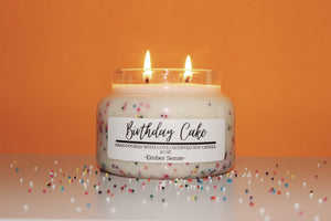 Lit birthday cake soy candle