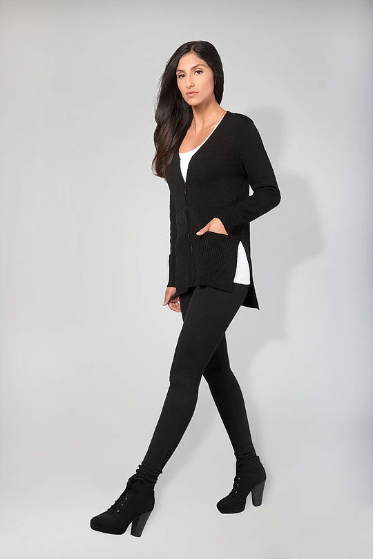 V-NECK ZIP CARDIGAN RIBBED