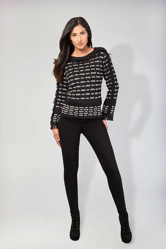 NOVEL STITCH PULLOVER WITH FRINGE