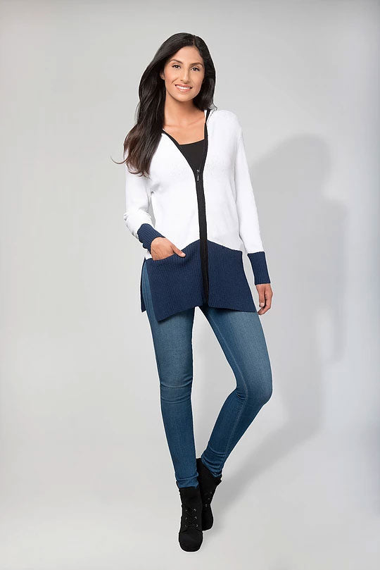 HOODIE TWO TONE ZIP LONG CARDIGAN