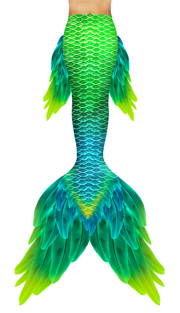 Green Macaw Mermaid Tail
